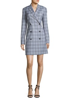 Theory Double-Breasted Maple Check Blazer Dress