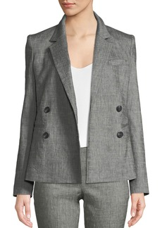Theory Double-Breasted Sharkskin Two-Button Blazer