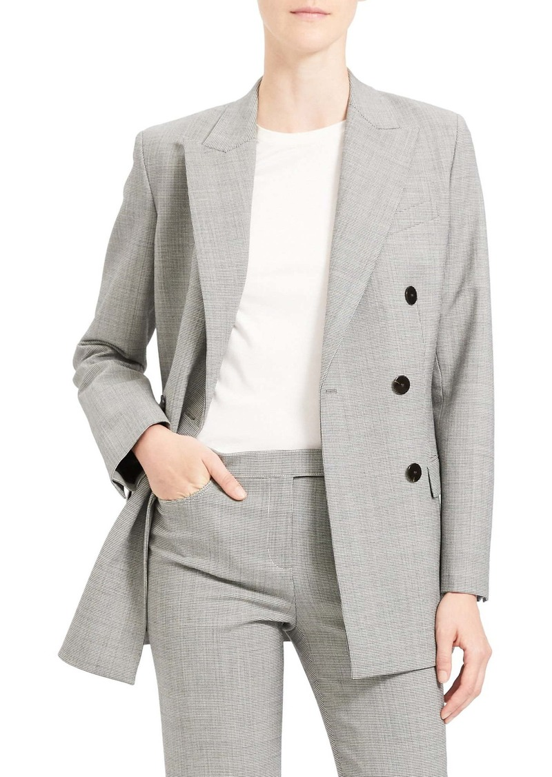 Theory Double Breasted Stretch Wool Suit Jacket