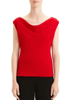 Theory Draped Boat-Neck Crepe Top