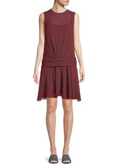 Theory Draped Dot-Print Chiffon Dress