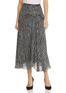 Theory Draped Dot-Print Skirt