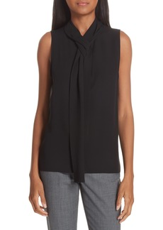Theory Draped Tie Neck Silk Georgette Shell
