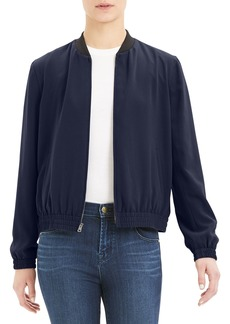 Theory Drapey Crepe Zip-Front Bomber Jacket
