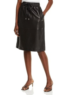 Theory Drawstring Leather Skirt