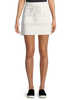 Theory Drawstring Stitched-Pocket Twill Mini Skirt