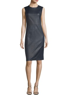 Theory Eano Sleeveless Leather Sheath Dress
