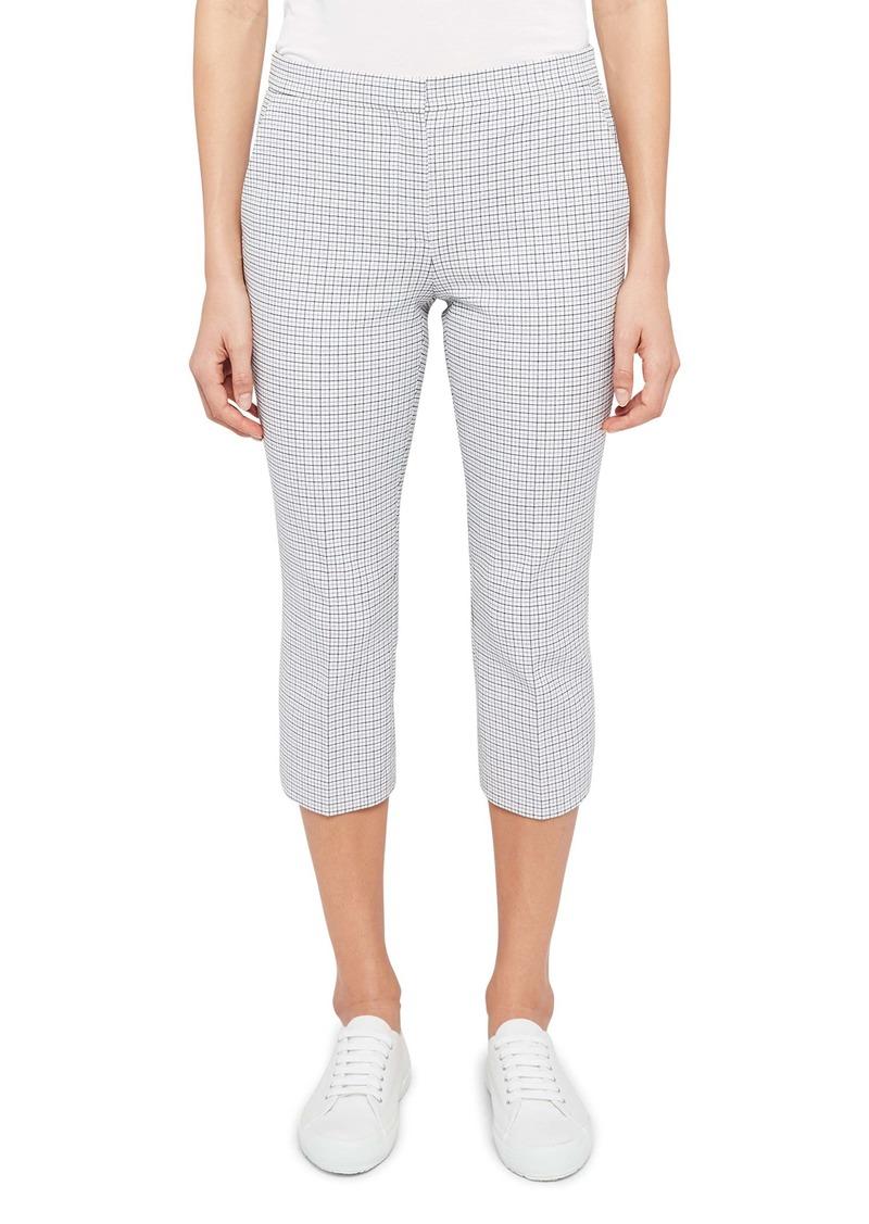 Theory Easy Check Stretch Cotton Capri Pants