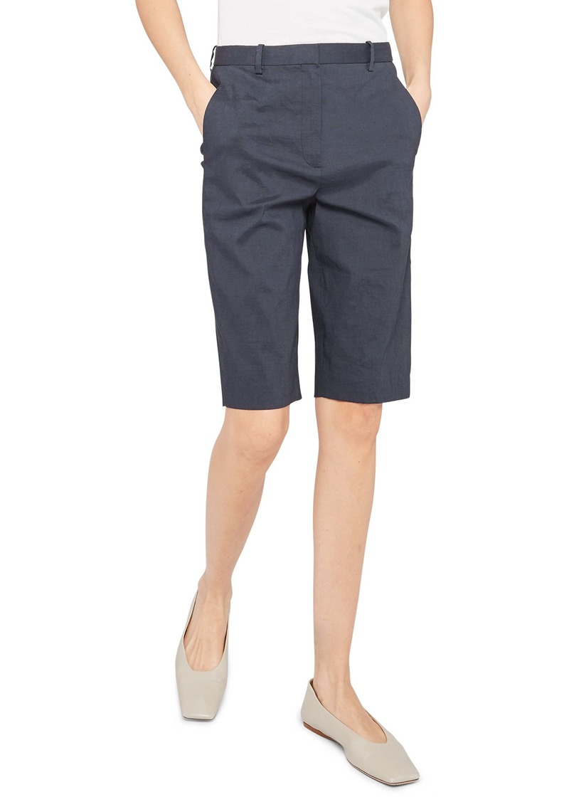 Theory Easy Linen Blend Bermuda Shorts