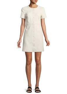 Theory Easy Snap-Front Short-Sleeve Leather Mini Dress