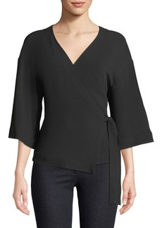 Theory Elevated Rosina Crepe Wrap Top