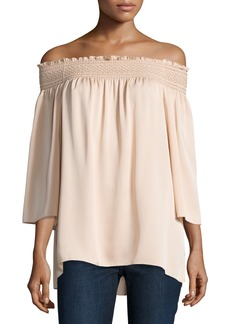 Theory Elistaire Off-the-Shoulder Modern Georgette Top