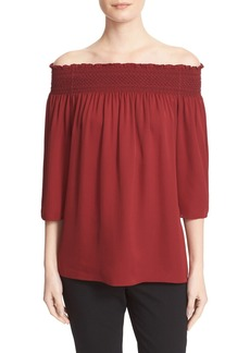 Theory Elistaire Smocked Silk Off the Shoulder Blouse