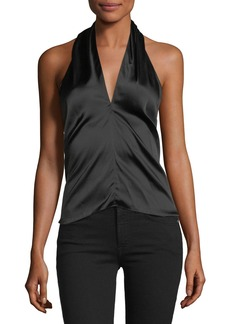 Theory Ertil B Sleeveless Halter Stretch-Satin Top