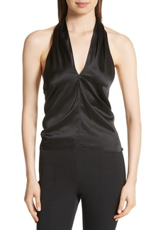 Theory Ertil Stretch Satin Halter Top