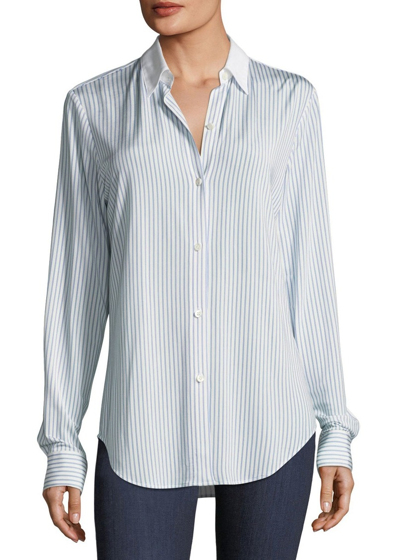 Theory Essential Button-Down Jersey Double-Stripe Shirt