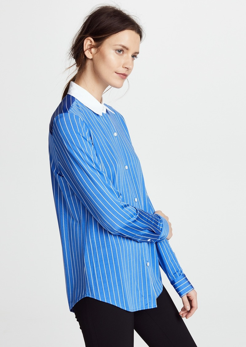 Theory Essential Jersey Button Down Blouse