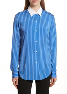 Theory Essential Stripe Jersey Button Down Shirt