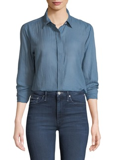 Theory Essential Summer Cotton Long-Sleeve Button-Down Top