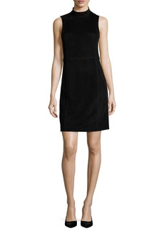 Theory Eulia DR Tidle Paneled Suede Cocktail Dress