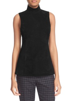 Theory Eulia Tidle Suede Front Mock Neck Top