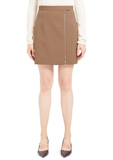 Theory Exposed Zip Wool Blend Miniskirt