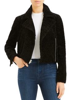 Theory Faux Fur Zip Moto Jacket