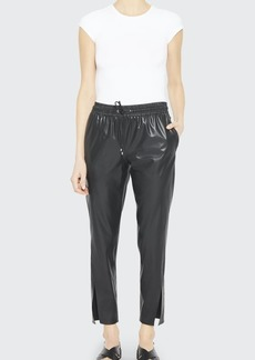 Theory Faux-Leather Slit Pull-On Pants