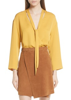 Theory Faux Wrap Silk Blouse