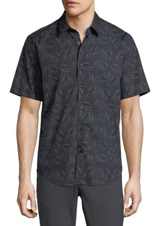 Theory Feather-Print Short-Sleeve Sport Shirt