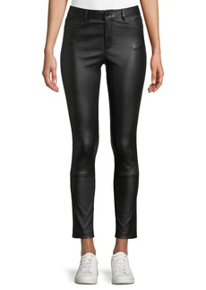 Theory Five-Pocket Skinny-Leg Bristol Leather Cropped Pants