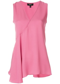 Theory flared V-neck blouse - Pink & Purple