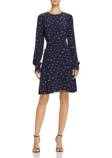 Theory Floral Print Lace-Up Silk Dress