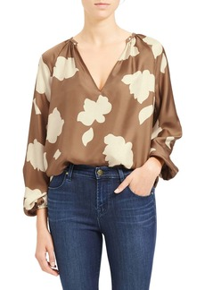 Theory Floral Print Silk Top