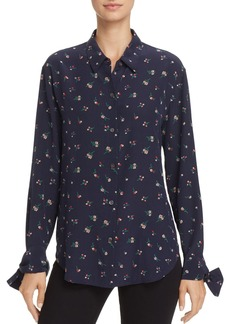 Theory Flower Print Tie-Cuff Silk Shirt
