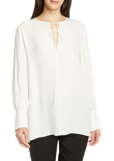 Theory Fluid Tie Neck Silk Tunic