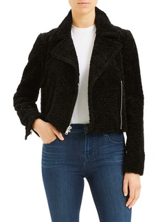 Theory Crop Faux Fur Moto Jacket