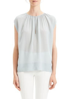 Theory Gathered Slit Neck Silk Blouse