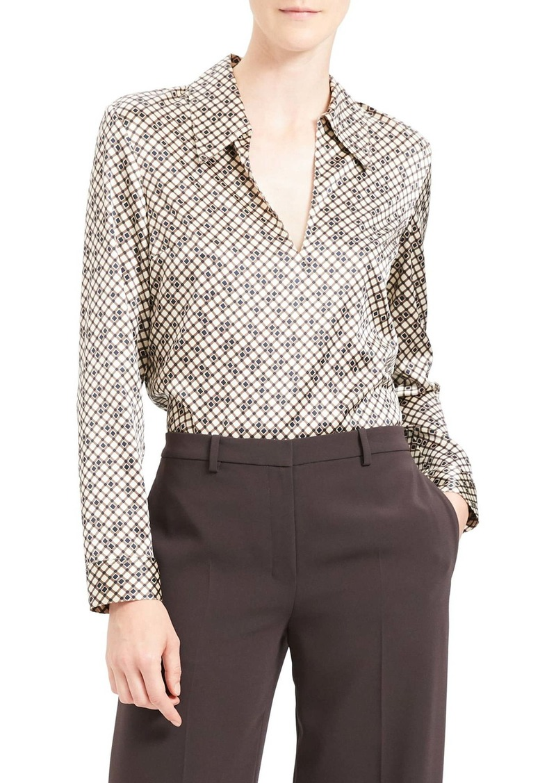 Theory Geometric Print Stretch Silk Blouse