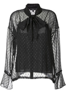 Theory glitter detail pussy bow blouse - Black