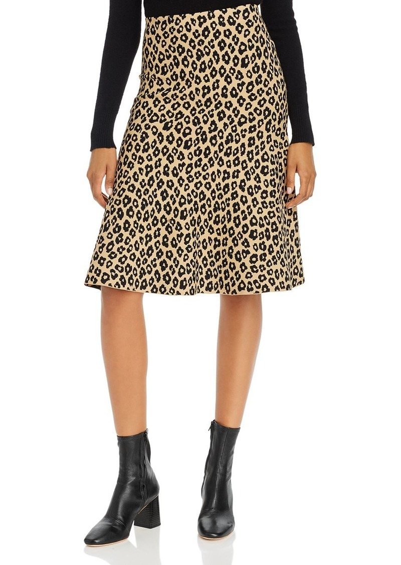 Theory Glosse Leopard-Printed Knit Skirt