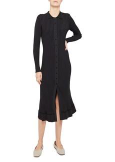Theory Glossed Ribbed Long Sleeve Cardi Dress
