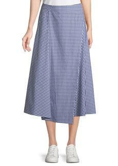 Theory Hartman Gingham Midi Cotton Placket Skirt