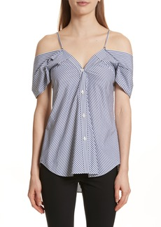 Theory Hartman Stripe Cold Shoulder Top