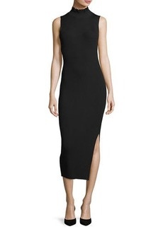 Theory Hedrisa Lustrate Ribbed-Knit Mock-Neck Dress