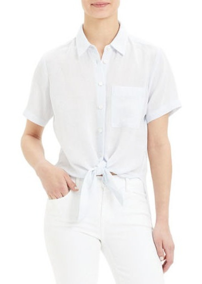 Theory Hekanina Button-Down Tie-Front Short-Sleeve Top