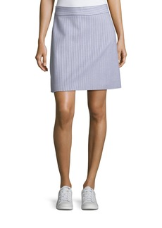 Theory High-Waist A-Line Striped Stretch-Wool Skirt