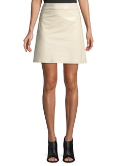 Theory High-Waist Crinkle Patent Leather Mini Skirt