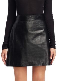 Theory High-Waist Leather Mini Skirt