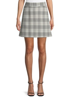 Theory High-Waist Mini Brea Check Skirt